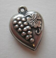 40's VINTAGE Sterling Silver GRAPE CLUSTER Repousse Puffy Heart Charm