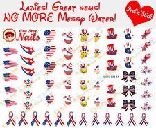 4th of July. Smile I love Ameri Clear Vinyl PEEL and STICK Nail Decals set of 61