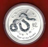 2013 Australian Lunar Ser II, YEAR OF THE SNAKE, 1oz Silver Brilliant UNC Coin