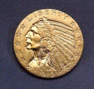 1913 - P Gold $5.00 Indian Head Half Eagle | High Quality Details