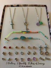 Girls Jewelry Boxed Gift Set 2 Bracelets 3 Necklaces 12 Earrings Lot Key Cross