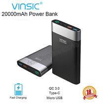 Vinsic 20000mAh QC 3.0 Quick Charger USB-C Power Bank External Portable Battery