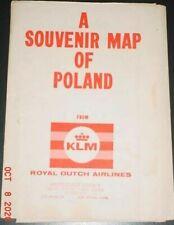 A SOUVENIR MAP OF POLAND 1959 KLM AIRLINES WALL SIZE LARGE WIELKA MAPA POLSKI