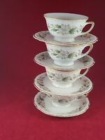 EMBASSY USA VITRIFIED CHINA DOGWOOD GOLD RIM 4 TEA CUP & SAUCERS.EXCELLENT