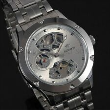 Buisness Analog Silver OUYAWEI Mens Mechanical Automatic Wrist Skeleton Watch