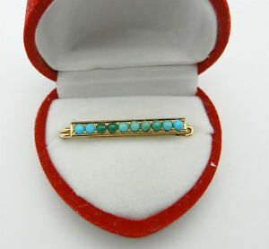 Fine Antique Turquoise 14K Yellow Gold Fashion Pin Brooch