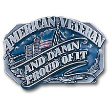 "American Veteran And Damn Proud Of It Belt Buckle Fits 2"" Strap Fully Cast Metal"