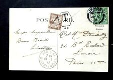 Jersey 1915 to France underpaid with Hexagonal JE &10c French Due stamp