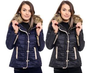 New Ladies Jacket Womens Quilted Faux Fur Collar Button Zip Coat Plus sizes 8-20