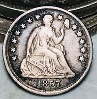 1857 Seated Liberty Half Dime 5C Good Date Ungraded Early Silver US Coin CC6997