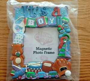 """Three Cheers """"It's a Boy"""" Baby Magnetic Photo Frame New"""
