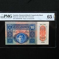 Austria 1915 (ND 1919), 10 Kronen Pick # 51a, PMG 65 EPQ Gem Uncirculated