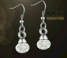 New Crystal Ball Cremation Stainless Steel Earrings
