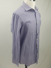 Banana Republic Mens Purple White Stripe Button Up Long Sleeve Shirt 17-17.5 Xl