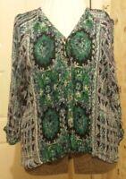 Angie Top Blue Green India Floral Print Boho Peasant Blouse Size LG Semi-Sheer