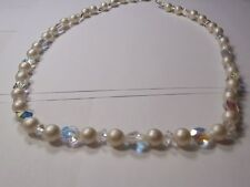 vintage bead necklace faux pearl clear crystal Aurora Borealis free shipping !!