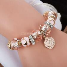 Gold Plated Rhinestone Crystal European Charm Flower Beads Bracelet Lady Bangle