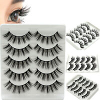 5Pairs 3D Bushy False Eyelashes Wispy Cross Long Thick Fake Eye Lashes Beauty