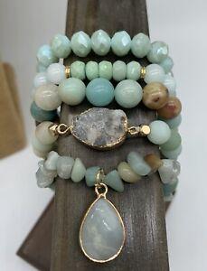 Free Shipping  Women blue Glass Crystal amazonite Bracelets 5 pcs/lot Gift set