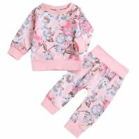 Baby Girl 2 Piece Tracksuit Set Sweatshirt/Pants Warm Outfits 3 6 12, 18, 24 M
