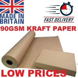 BROWN STRONG KRAFT WRAPING AND PACKING PARCEL PAPER ROLLS 90GSM PACKAGING