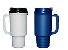 2 Coffee Cup Travel Mugs Air Insulated Holds 18 Oz 1 ea Granite & Navy Mfg USA*