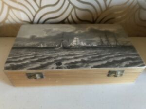 Vintage Wooden Slide Box With Ship Decoration
