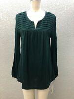 NWT Sonoma Knit Tunic Top Blouse Womens M Emerald Green Split Vneck Long Sleeve