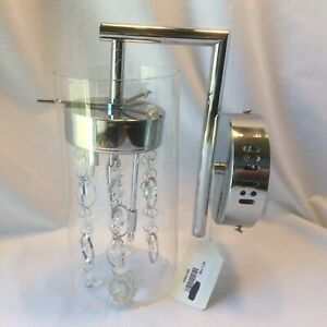 "Modern Wall Light Sconce Chrome 11"" Fixture Glass Crystal for Bedroom Bathroom"