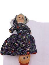 "Vintage Topsy Turvy Cloth Doll Little Red Riding Hood Wolf Grandma 9"" Td100"