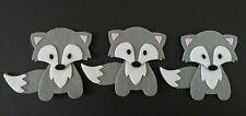 3 grey foxes, Felt Embellishments. Die cuts. Card topper.