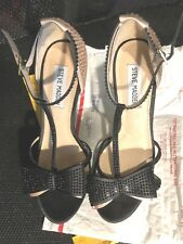 "Shoes, STEVE MADDEN, black & beige with rhinestones all over, 5"" heel, SZ:8 1/2M"