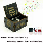 Retro Wooden Music Box Hand Cranked Kids Lovers Holiday Birthday Gifts Toys US