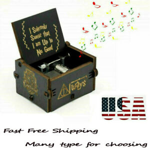 Retro Wooden Music Box Hand Cranked Kids Lovers Holiday Birthday Gifts Toys
