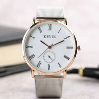 KEVIN Roman Numbers Mesh Stainless Steel Strap Women Men Quartz Wrist Watch Gift