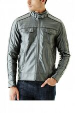 Guess Roque PU Men's Gunmetal Metallic Jacket Size 2XL