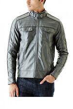 Guess Roque PU Men's Gunmetal Metallic Jacket Size 2XL