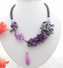 """18"""" Black Pearl Amethyst Jade Necklace"""