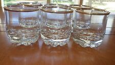 Clear Crystal Juice Glasses Heavy Knobbed Base trimmed in gold Italy 6 10oz