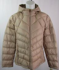 Michael Kors Women's Champagne Color Hooded Packable Puffer Coat Size XXL X352