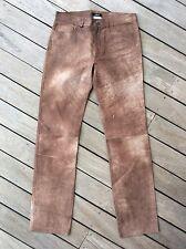 Pantalone jeans in pelle invecchiato leather pant campionario moda BOSCH