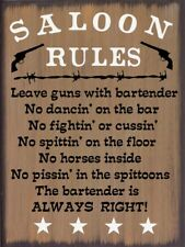 Saloon Rules Western Primitive Country Rustic Canvas Sign Home Decor