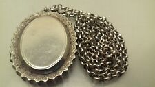 ANTIQUE VICTORIAN SILVER LARGE LOCKET PENDANT + NECKLACE CHAIN
