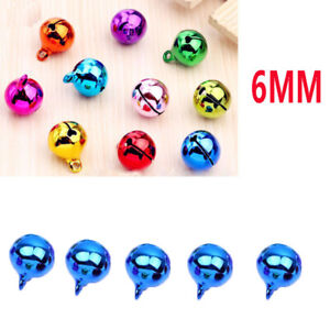 5Pcs 6mm Car Automotive Interior Pendants Metal Jingle Bells Blue