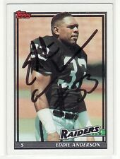 EDDIE ANDERSON OAKLAND RAIDERS 1991 TOPPS #93 FORT VALLEY STATE AUTOGRAPHED CARD
