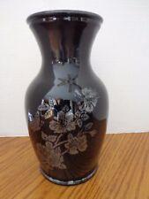 """Vintage Large Black Amethyst Glass Vase with Silver Floral Design 9"""""""