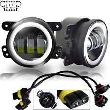 "For 07-17 Jeep Wrangler JK A Pair 4"" CREE Halo LED Fog Lights Front Bumper Lamp"