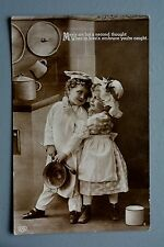 R&L Postcard: Children in Kitchen, Chef Cook Maid Outfit, EAS