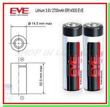 2 Batterie Pile EVE 14505 14500 3,6V Li-SoCl2 STILO AA 2700mAh STD Clock Laser