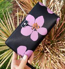 Kate Spade Dawn Paper Rose Large CONTINENTAL Wallet Black Multi Wlru6206